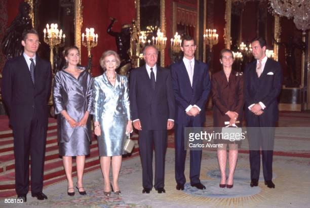 Left to right Ioaki Urdangarin Princess Cristina Queen Sofia King Juan Carlos Prince Felipe Princess Elena and Jaime de Marichalar pose for a...