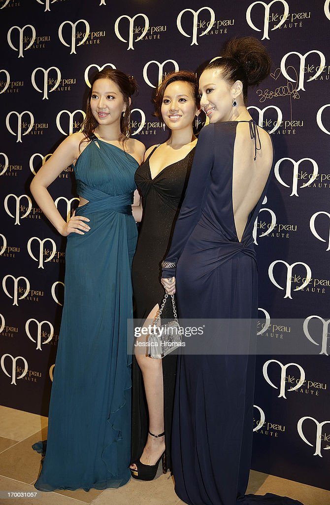 Left to Right- Irene Wang, Jessica Jann and Cissy Wang attend the Shiseido 'Cle De Peau Beaute' gala dinner at ArtisTree on June 6, 2013 in Hong Kong, Hong Kong.