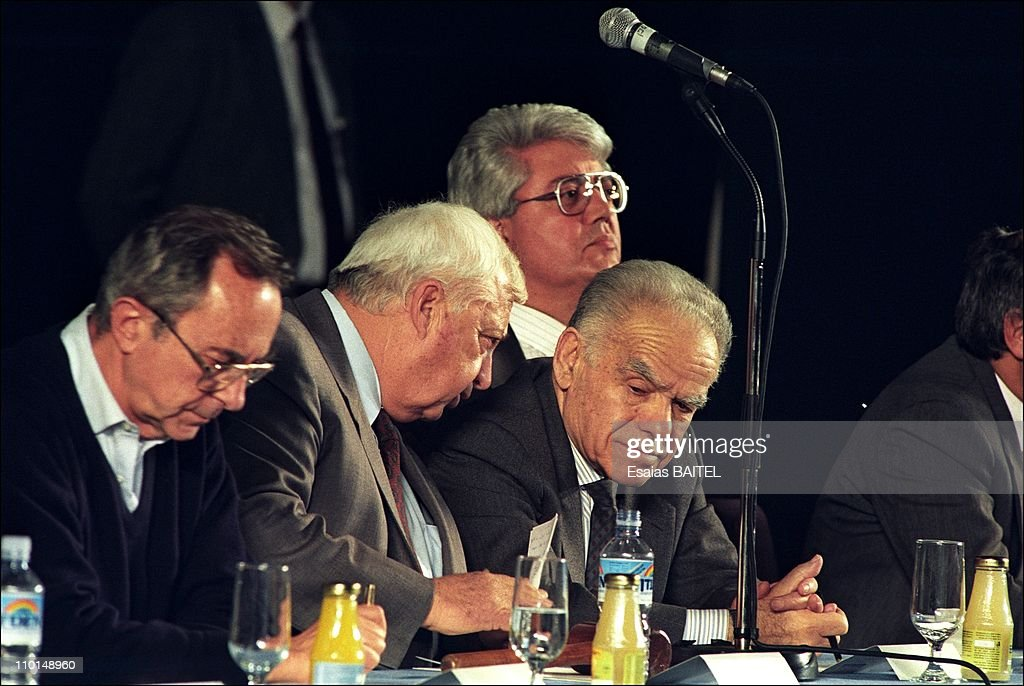 Left to right Israeli conservative leaders Moshe Arens Ariel Sharon Yitzhak Shamir and David Levy at Likud convention in Tel Aviv Israel on February...