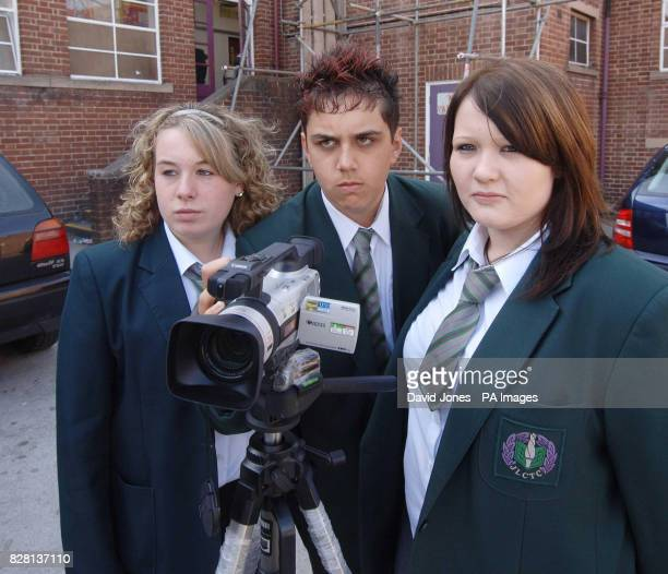 Jade Neville Mark Malik and Peri Harris Wednesday 21 September 2005 pupils who made a DVD highlighting the delapidated state of their school Joseph...