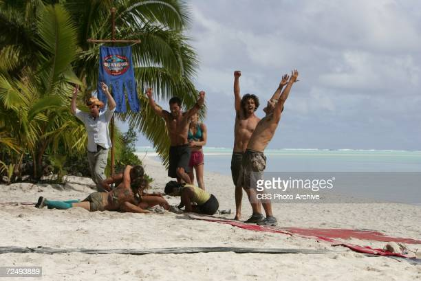 left to right Jeff Probst Jessica Smith Cristina Coria Becky Lee Yul Kwon Candice Woodcock Oscar 'Ozzy' Lusth and Jonathan Penner during the...