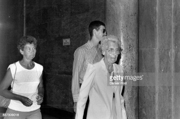 Left to Right Jessie Schmidt Michael Schmidt and Hazel Riggs all leave the court room for lunch during trial Credit The Denver Post