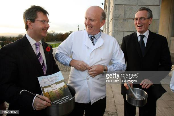 Left to right Junior Minister Jeffrey Donaldson Health Minister Michael McGimpsey and Junior Minister Gerry Kelly at a photocall for a new Stormont...