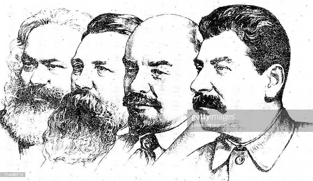 Left to right Karl Marx Friedrich Engels Lenin and Joseph Stalin the four pioneers of the Soviet Socialism
