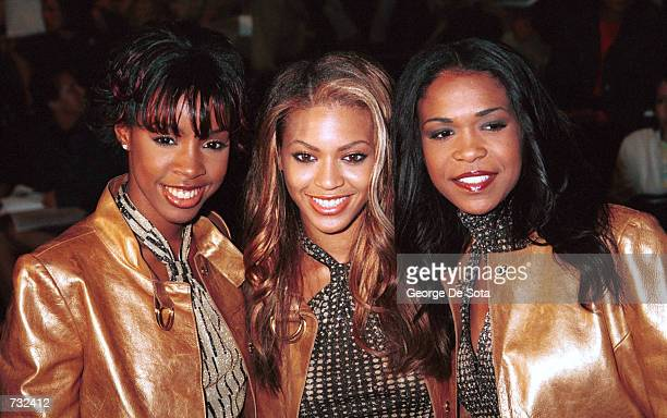 Left to right Kelly Rowland Beyonce Knowles and Michelle Williams of the group 'Destiny's Child' attend the Vivienne Tam Spring 2001 '7th On Sixth'...