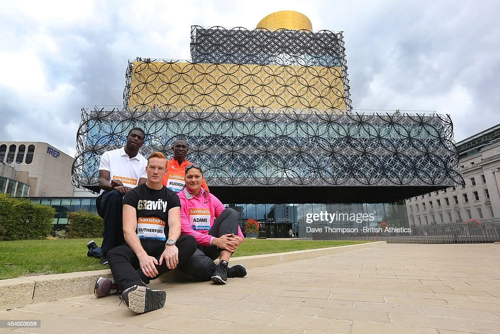 Left to right - Kirani James of Grenada, Greg Rutherford of Great Britain, David Rudisha of Kenya and Valerie Adams of New Zealand, during a photocall before a press conference prior to Sunday's Sainsbury's Birmingham Grand Prix at the Hyatt Regency Hotel on August 23, 2014, in Birmingham, England.