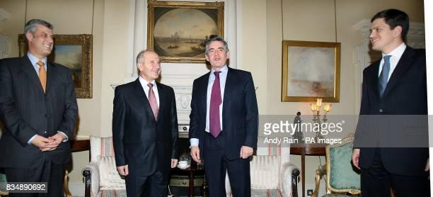 Left to right Kosovo's Prime Minister Hashim Thaci President of Kosovo Fatmir Sejdiu British Prime Minister Gordon Brown and Foreign Secretary David...