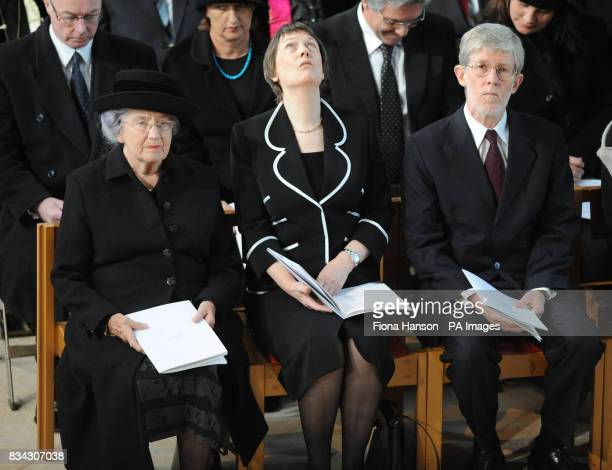 Left to right Lady June Hillary wife of Sir Edmund Hillary New Zeland Prime Minister Helen Clark and husband Peter Davis attend the service of...