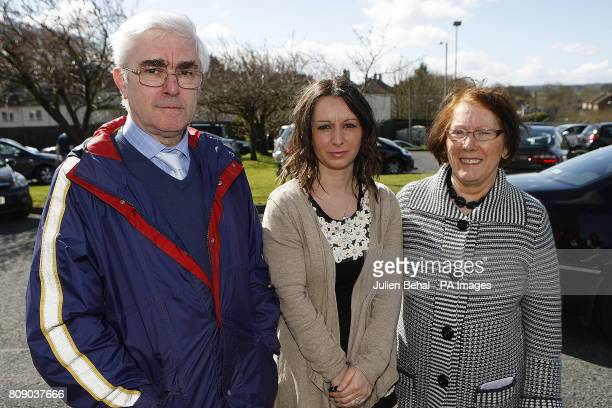 Left to right Leo Crowsey Ann Atherton and Kitty Crowsey speaking outside Christ The King Catholic Church where a young Catholic police officer was...