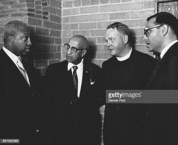 Left to Right Leonard Carter Dr Clarence Holmes Rev Herbert R Barrall Rabbi Robert Hammer Credit Denver Post