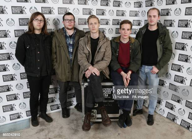 Left to right Liam Matthews Tom Kelly George Mitchell Henry Ruddell and Mark Goldsworthy of Eagulls backstage during the Teenage Cancer Trust series...