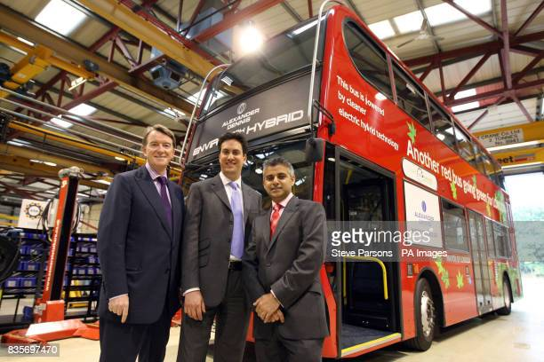 Left to right Lord Mandelson Ed Miliband and Sadiq Khan visit the Alexander Dennis Limited factory in Guildford Surrey