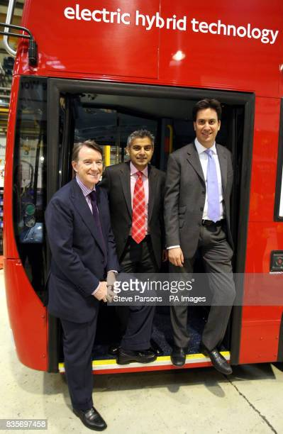 Left to right Lord Mandelson Sadiq Khan and Ed Miliband visit the Alexander Dennis Limited factory in Guildford Surrey