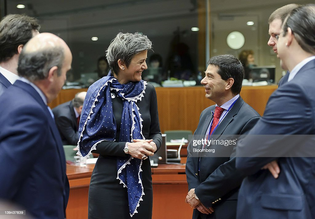 Left to right Luis de Guindos Spain's economy minister George Osborne UK chancellor of the exchequer Margrethe Vestager Denmark's economy minister...