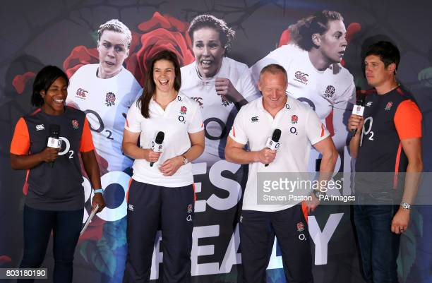 Left to right Maggie Alphonsi Sarah Hunter Simon Middleton and Vernon Kay during the squad announcement at Twickenham Stadium London