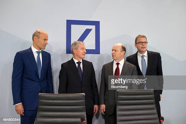 Left to right Marcus Schenck chief Financial officer of Deutsche Bank AG Juergen Fitschen cochief executive officer of Deutsche Bank AG John Cryan...