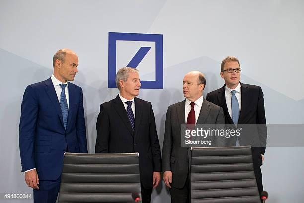Left to right Marcus Schenck chief Financial officer of Deutsche Bank AG Juergen Fitschen cochief executive officer of Deutsche Bank AG John Cryan...