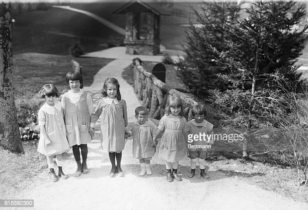 Left to right May Duane Jones daughter of Mr and Mrs Wm S Jones of Cedarhurst LI Jane Hand daughter of Mr and Mrs Wm Hand Oakland NJ Nora Bullitt...