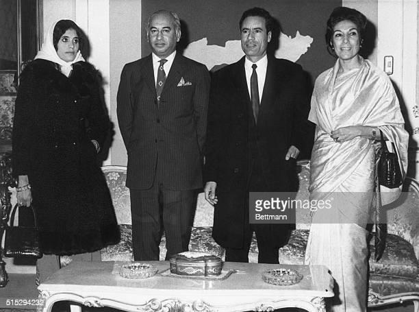 Left to right Mrs Muammar alQaddafi Pakistan Pres Zulfikar Ali Bhutto Libyan Pres Moammar ElKhadafy and Mrs Bhutto at the Guest Palace