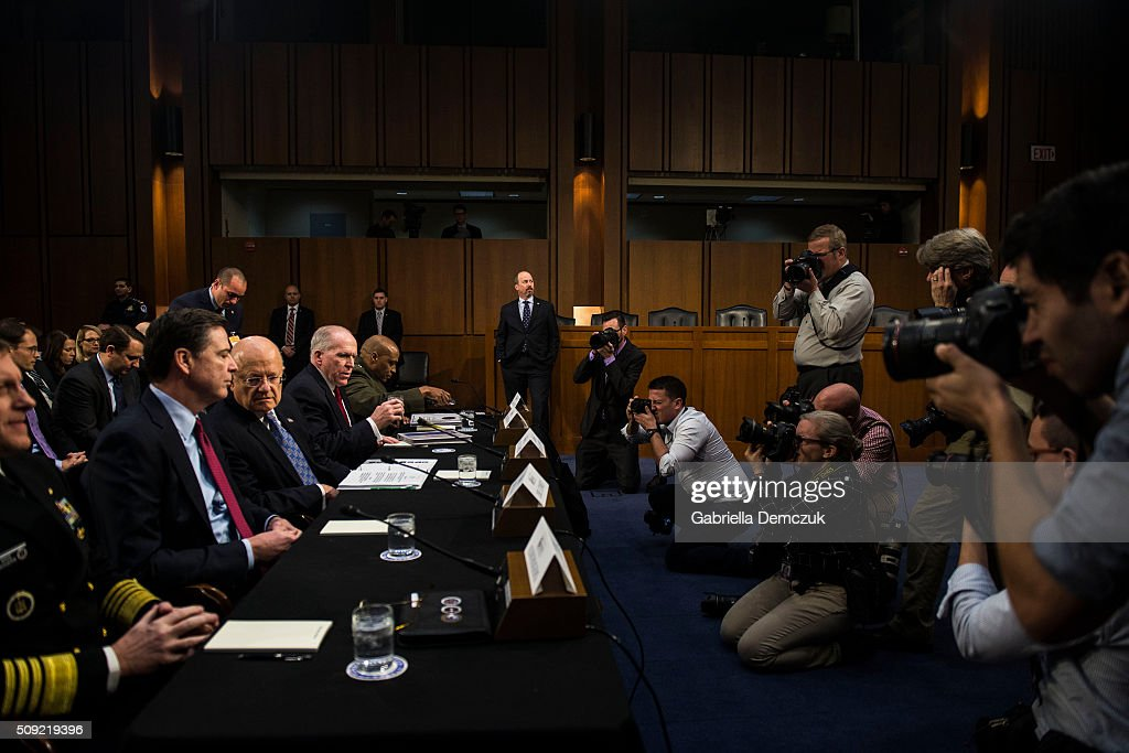 Left to right, National Security Agency Director Adm. Michael Rogers, FBI Director James Comey, Director of National Intelligence James Clapper, CIA Director John Brennan and Defense Intelligence Agency Director Vincent Stewart prepare for the Senate (Select) Intelligence Committee hearing at the Hart Senate Building on February 9, 2016 in Washington, D.C. The committee met to hear testimony about worldwide threats to America and its allies.