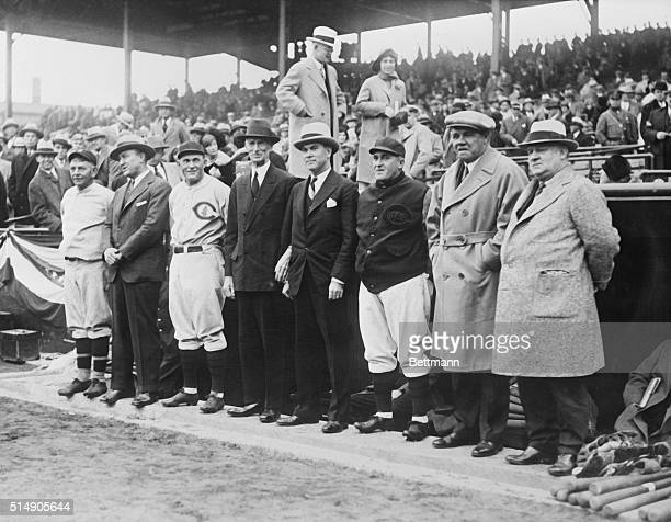 Left to Right Nick Altrock of Senators Ty Cobb Rogers Hornsby Connie Mack Christy Walsh Manager Joe MacCarthy Babe Ruth and John McGraw