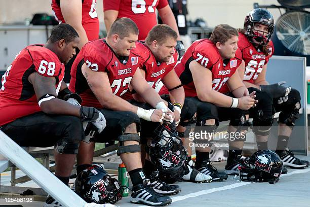 Left to right Northern Illinois offensive linesman Keith Otis offensive linesman Joe Pawlak center Scott Wedige offensive linesman Logan Pegram and...