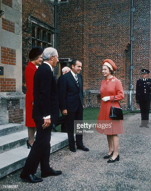 Pat Nixon British Prime Minister Edward Heath US President Richard Nixon and Queen Elizabeth II at Chequers Buckinghamshire 3rd October 1970