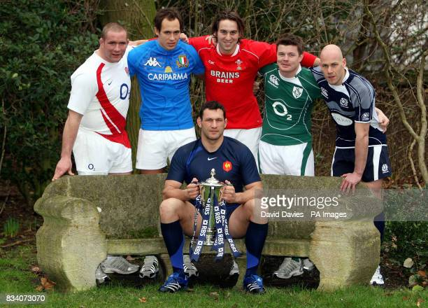 Left to right Phil Vickery Sergio Parisse Ryan Jones Brian O'Driscoll Simon Webster and Lionel Nallet seated during the RBS 6 Nations Launch at The...
