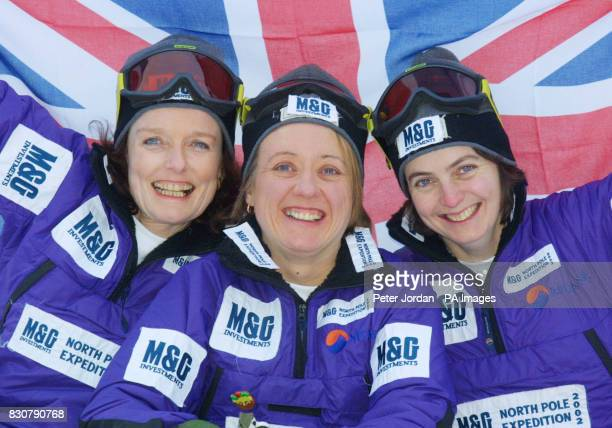 Left to right Pom Oliver aged 50 from West Sussex Ann Daniels age 37 from Exeter in Devon and Caroline Hamilton 35 from London at a photo call in...