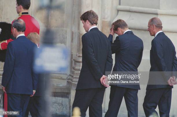 Prince Charles Prince Harry Earl Spencer Prince William and Prince Philip at Westminster Abbey for the funeral service for Diana Princess of Wales...