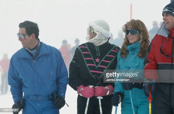 Prince Charles Princess Diana the Duchess of York and the Duke of York during a skiing holiday in Klosters Switzerland 17th February 1987