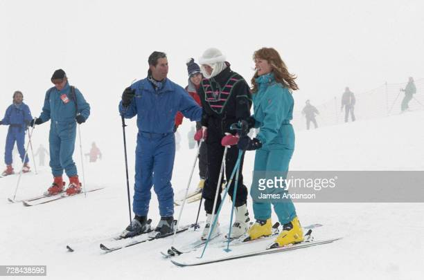 Prince Charles the Duke of York Princess Diana and the Duchess of York during a skiing holiday in Klosters Switzerland 17th February 1987