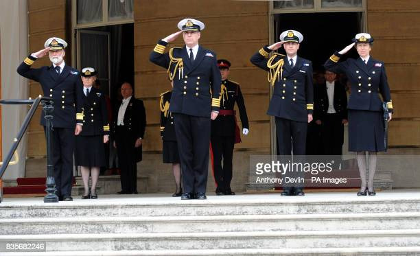 Left to right Prince Michael of Kent The Duke of York the Earl of Wessex and the Princess Royal salute as the national anthem is played during a...