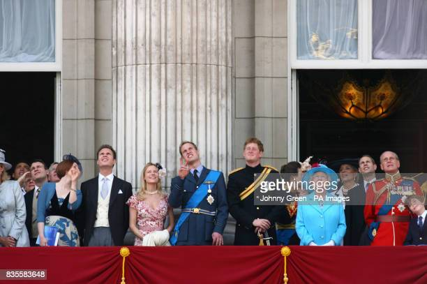 Left to right Prince William Prince Harry The Princess Royal Queen Elizabeth II the Earl of Wessex and the Duke of Edinburgh watch a flyover from the...