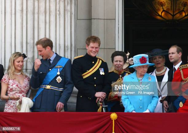 Left to right Prince William Prince Harry The Princess Royal Queen Elizabeth II and the Earl of Wessex watch a flyover from the balcony of Buckingham...