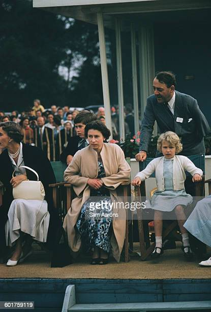 Princess Alice Duchess of Gloucester Prince Charles Queen Elizabeth II and Princess Anne at the Ascot Week polo tournament in Windsor Great Park June...
