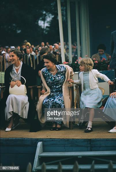 Princess Alice Duchess of Gloucester Queen Elizabeth II and Princess Anne at the Ascot Week polo tournament in Windsor Great Park June 1955 Prince...
