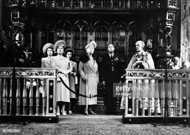 Left to right Princess Elizabeth Queen Elizabeth Princess Margaret Queen Mary King George VI and Dr Alan Don the Dean of Westminster at Westminster...