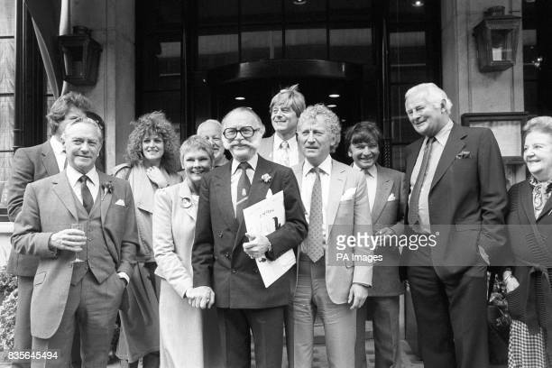Left to right Richard Todd Barbara Dickson Judi Dench holding hands with John Mills Martin Jarvis Barry Foster Michael Williams and Derek Bond some...