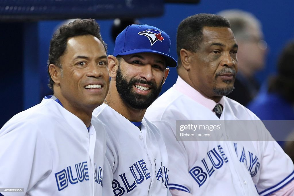 Left to right, Roberto Alomar, Jose Bautista and George Bell before the start of the game. The Toronto Blue Jays took on the Tampa Bay Rays in the Jays' home opener at the Rogers Centre.