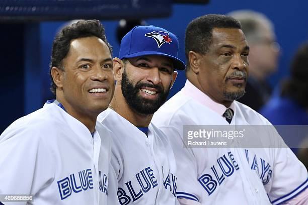 Left to right Roberto Alomar Jose Bautista and George Bell before the start of the game The Toronto Blue Jays took on the Tampa Bay Rays in the Jays'...