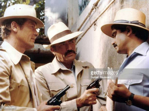 Roger Moore Gregory Peck and Marc Zuber in 'The Sea Wolves' directed by Andrew V McLaglen Goa India 1980