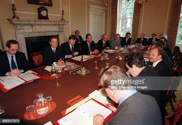 Left to right Secretary of the Cabinet Sir Richard Wilson Prime Minister Tony Blair Deputy Prime Minister John Prescott Minister for the Cabinet...