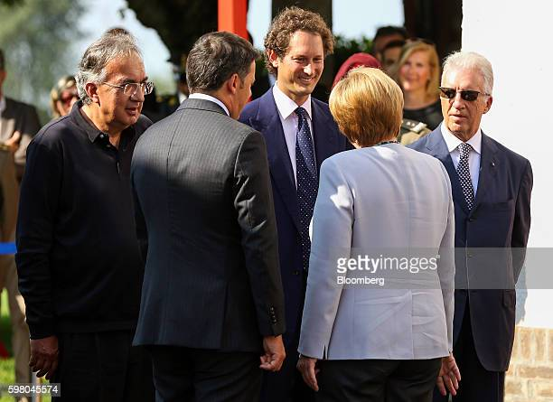 Left to right Sergio Marchionne chief executive officer of Fiat Chrysler Automobiles NV Matteo Renzi Itaty's prime minister John Elkann chairman of...