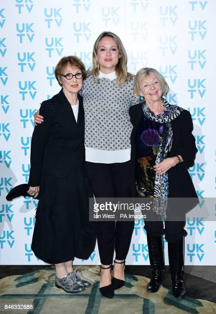 Left to right Sheila Reid Kimberley Nixon and Una Stubbs arriving for the UKTV Live new season launch at Claridge's hotel London