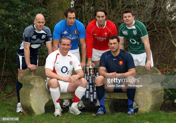 Left to right Simon Webster Sergi Parisse Ryan Jones Brian O'Driscoll Phil Vickery and Lionel Nallet during the RBS 6 Nations Launch at The...