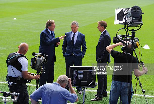 Sky Sports pundits and former players Glenn Hoddle and Graeme Souness with Sky Sports presenter Ed Chamberlain during the Sky Sports Super Sunday...