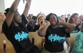 Left to right Solome Nakimuli and Sarah Eustache of Cambridge Ringe Latin School celebrated after Eustache's performance in the preliminary round of...