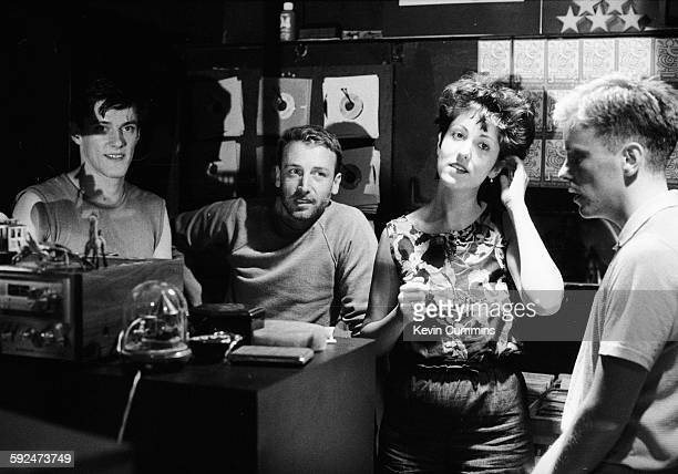 Stephen Morris Peter Hook Gillian Gilbert and Bernard Sumner of New Order at the Paradise Garage music venue in New York City United States 7th July...