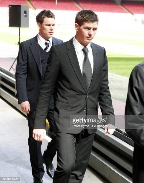 Left to right Steve Finnan and Steven Gerrard at the 19th Hillsborough Memorial service at Anfield Liverpool
